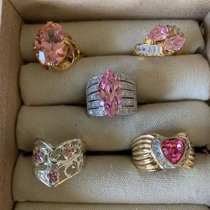Vintage costume pink with heart stone rings